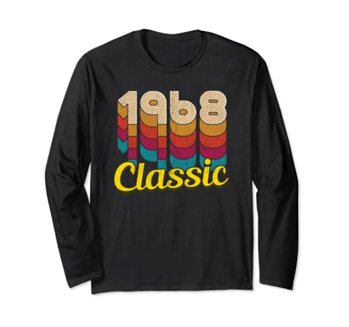 Retro Classic Vintage Born In 1968   51st Gift 51 Years Old Long Sleeve T Shirt