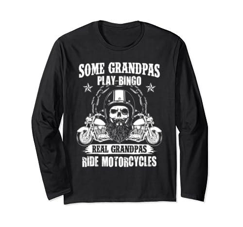 Real Grandpas Ride Motorcycles Biker Grandpa Funny Gift Long Sleeve T Shirt