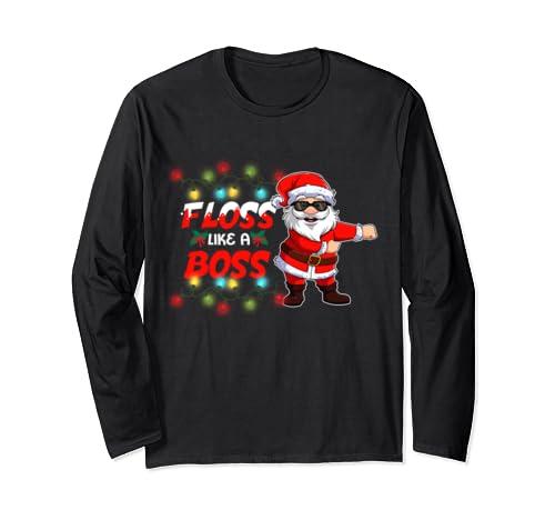 Santa Floss Like A Boss Flossing For Boys Kids Christmas Tee Long Sleeve T Shirt