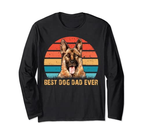 Men's Mens Quote Best Dog Dad Ever Vintage German Shepherd Long Sleeve T Shirt