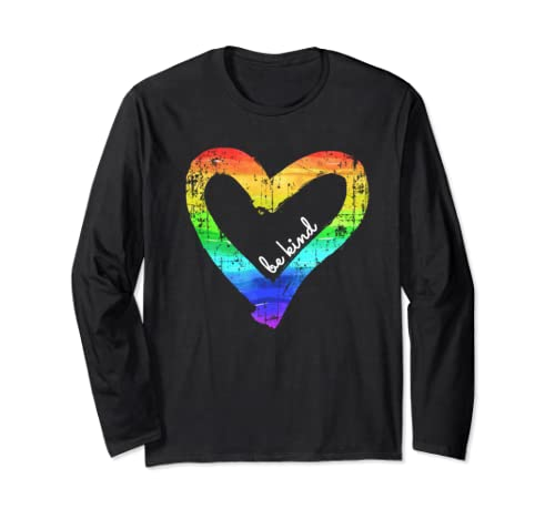 Vintage Be Kind   Rainbow Heart, Distressed Kindness Gift Long Sleeve T Shirt