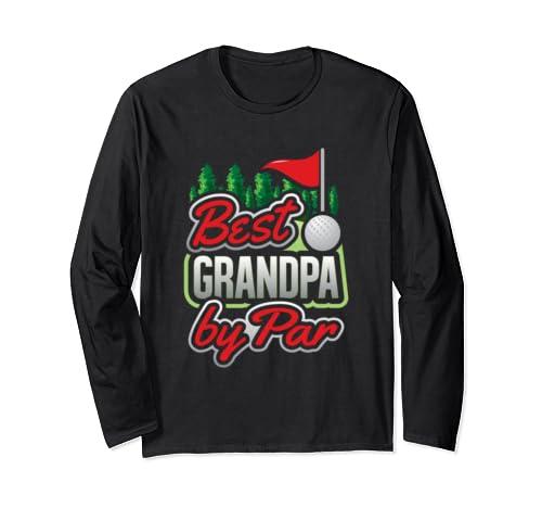 Best Grandpa By Par Golf Pun Gift For Golfer Mens Golf Long Sleeve T Shirt
