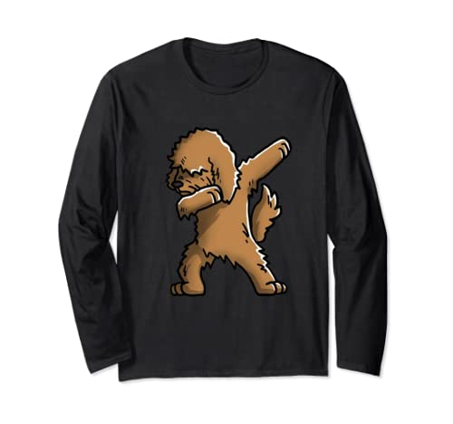 Funny Dabbing Goldendoodle Dog Birthday Party Gift Long Sleeve T Shirt