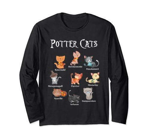 Harry Pawter Cute Kitten T Shirt Potter Cats Halloween Gift Long Sleeve T Shirt