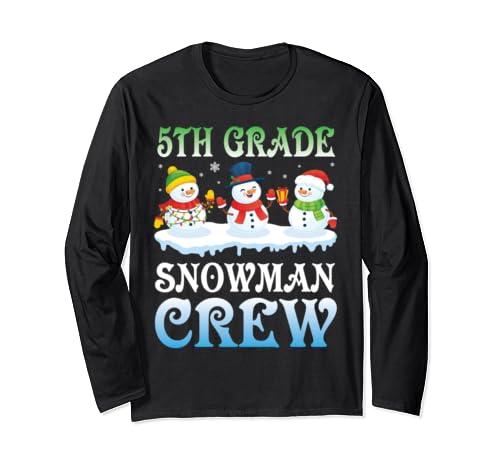 Teacher Student 5th Grade Snowman Crew Team Christmas Shirt