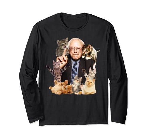 Bernie Sanders Cute Cat Collage Long Sleeve T Shirt