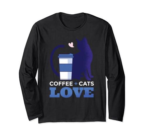 Beautiful Love Coffee + Cats Silhouette Long Sleeve T-Shirt