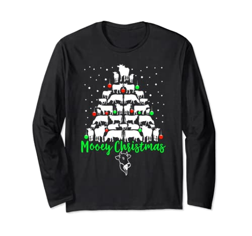 Mooey Christmas Cow Christmas Tree Long Sleeve T Shirt