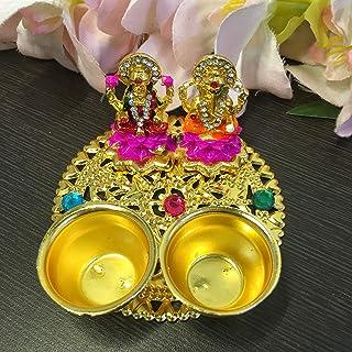 Itiha Lakshmi Ganesha on Lotus Haldi Kumkum Holder Diwali Gift/Festive Gift/haldi kumkum Return Gift/puja thali/Wedding Re...