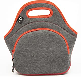 Neoprene Lunch Bag for Women, Men & Kids (M, Darkgrey/Red) | Extra Thick 5mm Insulation Keeps Your Lunch Box Delicious for Hours | Washable | Soft Cotton | Extra Pocket | YKK Zippers | Lunch Tote