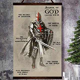 Zcocos Knight Templar Canvas Poster Armor of god The Helmet of Salvation The Belt of Truth Sword of The Spirit True Victory