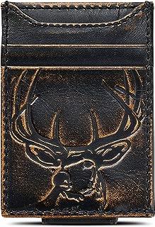 HOJ Co. DEER Front Pocket Wallet-Strong Magnetic Closure-Slim Money Clip Wallet- Deer Hunter Gift
