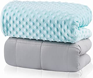 FORTIVO Weighted Blanket for Kids 5lbs | Throw Weighted Blanket for Adults | Heavy Blanket Best for Children 40-70 Pounds | Warming & Cooling Weighted Blanket with Minky Cover | Teal Quilt | 36x 48