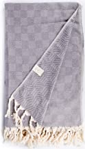 Bersuse 100% Cotton - Milas Extra Large (XL) Throw Blanket Turkish Towel - Sofa Bed or Couch Cover - 60 x 90 Inches, Grey