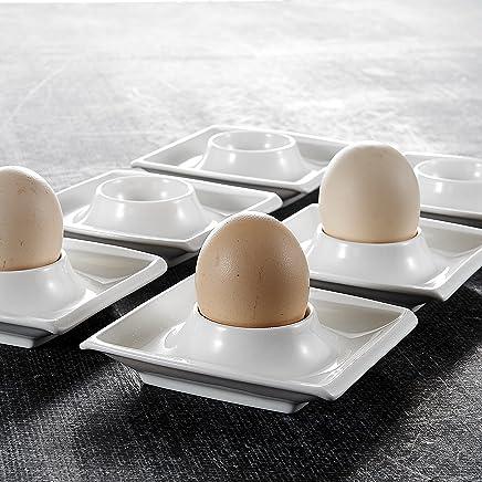 Preisvergleich für MALACASA, Serie Blance, 12er Set Eierbecher aus Porzellan, 4 Zoll Eierständer, Eierhalter