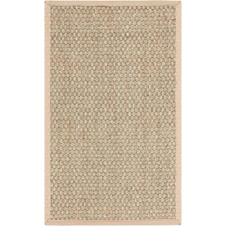 Safavieh Natural Fiber Collection NF114A Border Basketweave Seagrass Accent Rug, 2' x 3', Beige