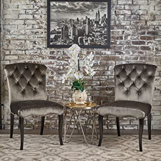 Christopher Knight Home Hallie Traditional Tufted New Velvet Armless Dining Chairs (Set Of 2), Grey/Dark Brown
