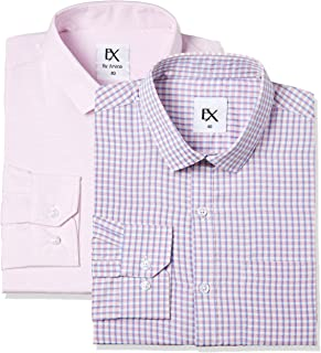 Excalibur by Unlimited Men's Solid Regular Fit Synthetic Formal Shirt (Pack of 2)(Colors & Print May Vary)