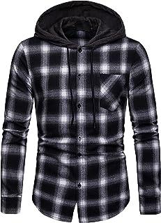 Blusa de Hombre Camisetas de Cuadros Ocasionales de los Jersey Blusa con Capucha Superior Cosiendo Manga Larga con Capucha...