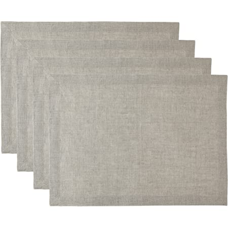 Solino Home Pure Linen Placemats - Natural, 14 x 19 Inch Set of 4 Athena - 100% Pure Linen Natural Fabric - Handcrafted Machine Washable