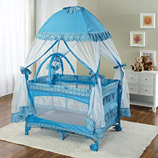 Big Oshi Portable Playard Deluxe Bundle - Nursery Center With Canopy Net Topper - Medium Size - Lightweight, Compact Design, Includes Carry Bag - Perfect for Indoor or Outdoor Backyard Use, Blue