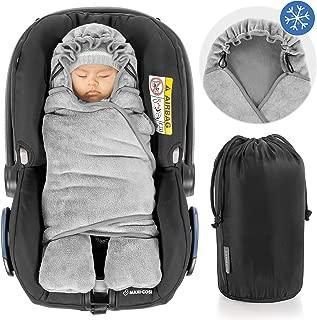 Zamboo Manta envolvente bebé con pies, forro polar térmico, capucha y bolsa - Invierno - Arrullo para silla de coche Grupo 0+(se adapta a Maxi-Cosi/Cybex/Römer) - Gris