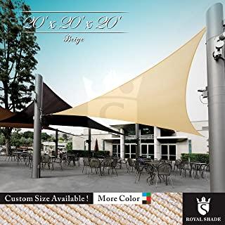 Royal Shade 20' x 20' x 20' Beige Triangle Sun Shade Sail Canopy Outdoor Patio Fabric Shelter Cloth Screen Awning - 95% UV Protection, 200 GSM, Heavy Duty, 5 Years Warranty, Custom