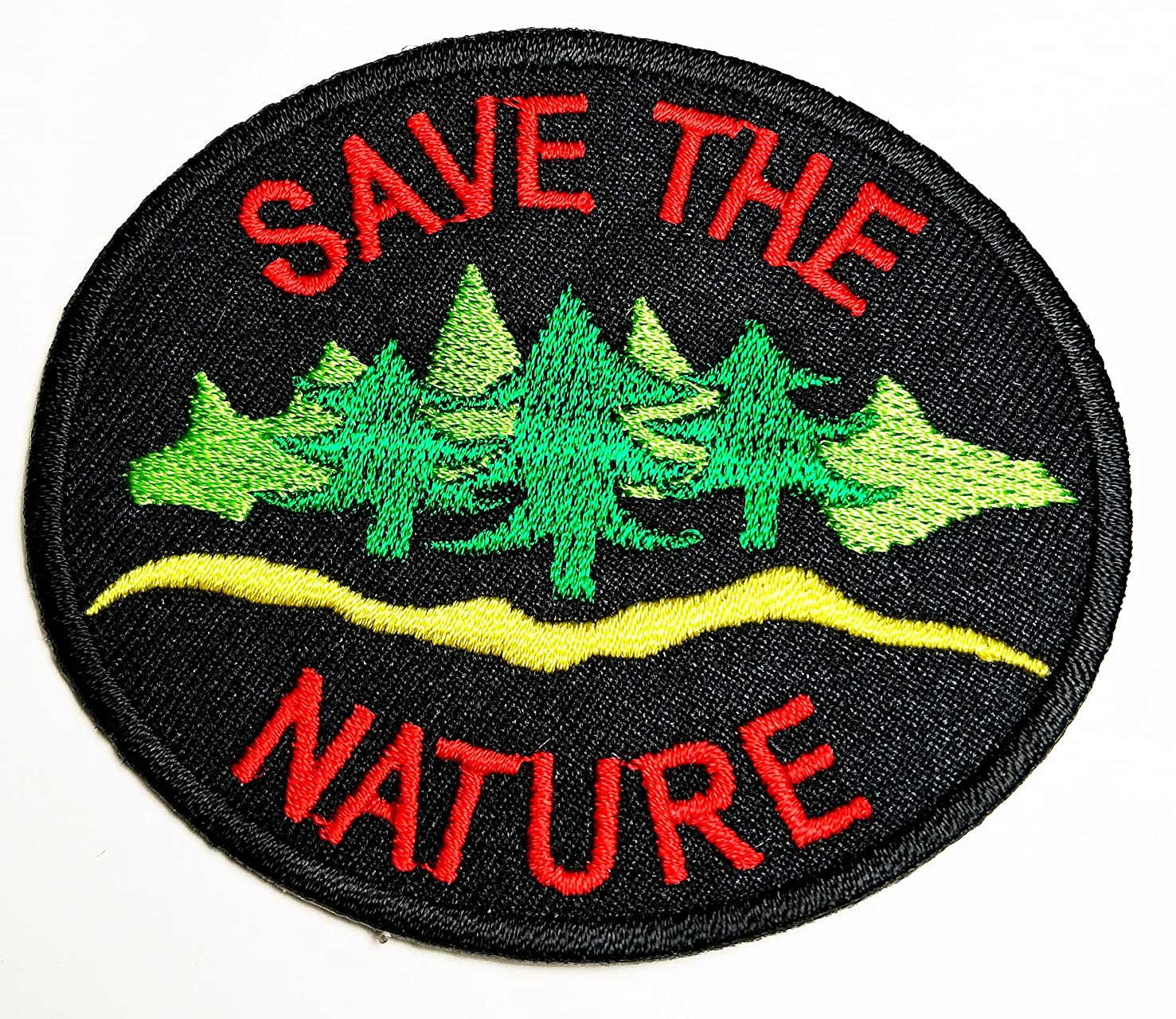 HHO Save The Nature Badge Emblem Environment Ecology Patch Embroidered DIY Patches, Cute Applique Sew Iron on Kids Craft Patch for Bags Jackets Jeans Clothes