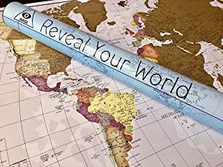 Scratch Off World Map Poster (~ 3ft x 2ft). Immortalize Your Travels with a Beautifully Detailed Cartography of The Globe, Including All 50 United States.