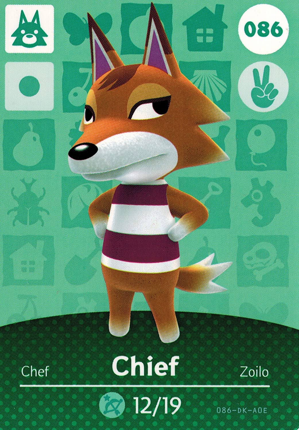 Animal Crossing Happy Home Designer Amiibo OFFicial 086 Tampa Mall Card 100 Chief
