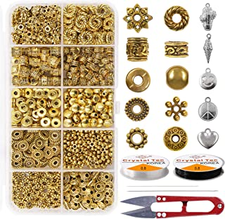 Spacer Bead 300PCS 10 Style Antique Gold Jewelry Bead Charm Spacers Alloy Spacer Beads Kit Jewelry Findings Accessories with 2 Crystal String Bracelet Charm for DIY Bracelet Necklace Jewelry Making