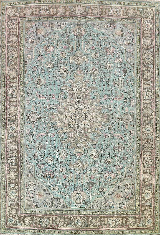 Vintage Green Geometric Tebriz Oriental Rug At the price Wool Hand-Knott Area Super intense SALE