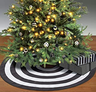 Amscan Black and White Tree Skirt, Elegant Polyester Accessory Measures 46 Inches Diameter, For Halloween or Christmas