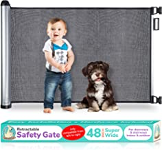 2020 New Retractable Baby Gate - Extra Wide Baby Safety Gate and Pet Gate for Stairs, Doors, and More - Mesh Baby Gate with Easy Latch and Flexible Design Fits Most Spaces