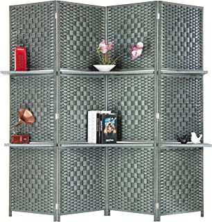 MyGift 6-Foot Gray Bamboo Woven 4-Panel Room Divider with 2 Shelves