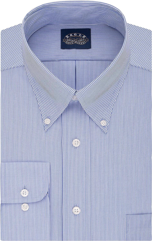 Eagle Men's Dress Shirt Regular Fit Non Iron Stretch Collar Stripe