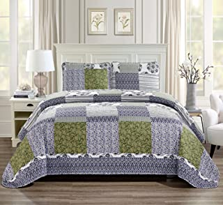 Twin/Twin Extra Long 2pc Quilted Bedspread Set Oversized Coverlet Floral Patchwork Zig Zag Stripes Blue Purple Green White New