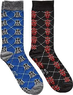 Darth Vader/Darth Maul Argyle Men's Crew Socks 2 Pair Pack Shoe Size 6-12
