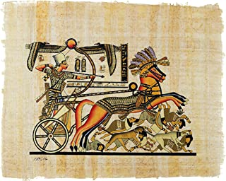 """Leolana Egyptian Papyrus """"Ramses II Chariot"""" Hand Painted Painting on 100% Authentic Egyptian Papyrus Paper-9x13-Black & Gold"""