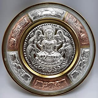 """JLine Arts Gajalakshmi 6"""" Thanjavur Art Plate Metal Art with Wall Hanging and Unbreakable Fibre Glass on The Front"""