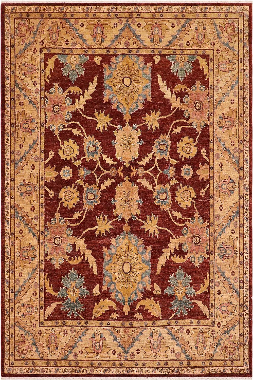 Oriental Ziegler Nelda Red Year-end annual account Tan Wool 7'11'' Japan's largest assortment Rug x - 10'0''