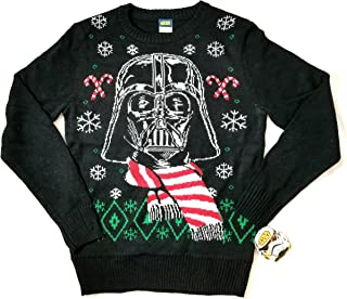 Holiday Black and Red,, Ugly Sweater, Darth Vader With Santa Hat (size small)