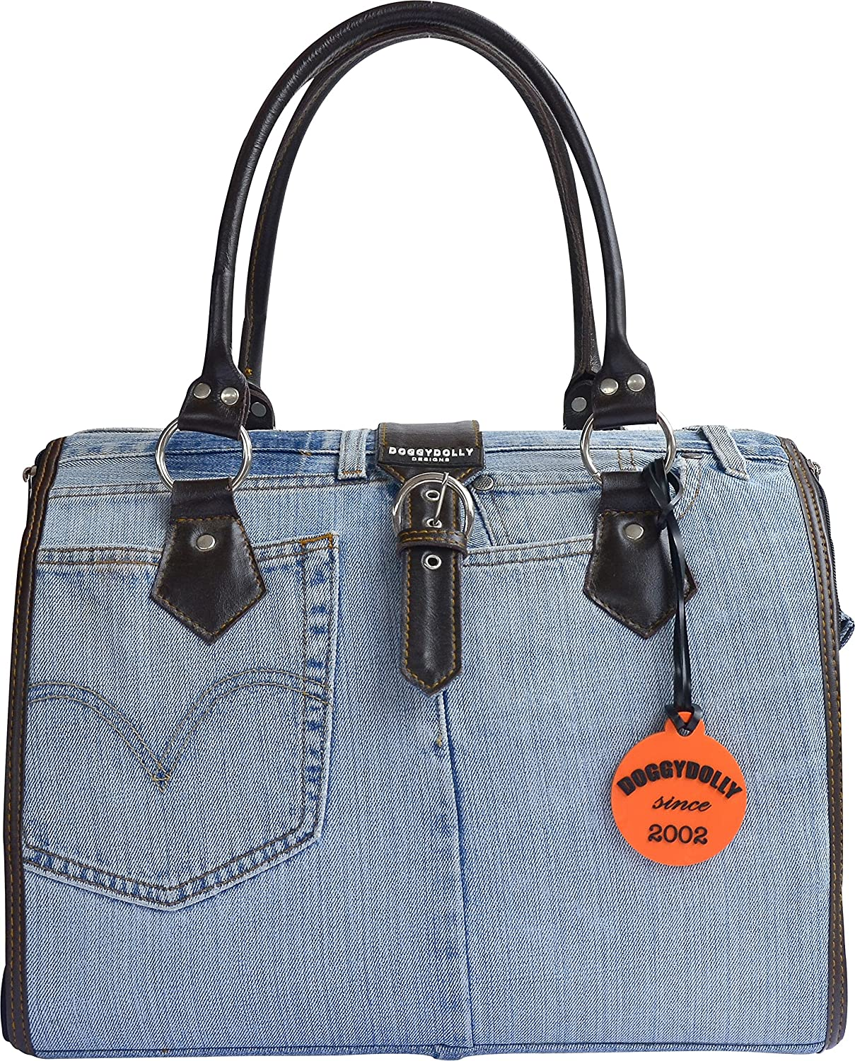 Doggy Dolly PC015 Dog Bag Denim with Handles and Belt Strap bluee