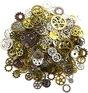 Aokbean 150 Gram Assorted Vintage Mixed Color Metal Steampunk Jewelry Making Charms Cog Watch Wheel (Mixed Color)