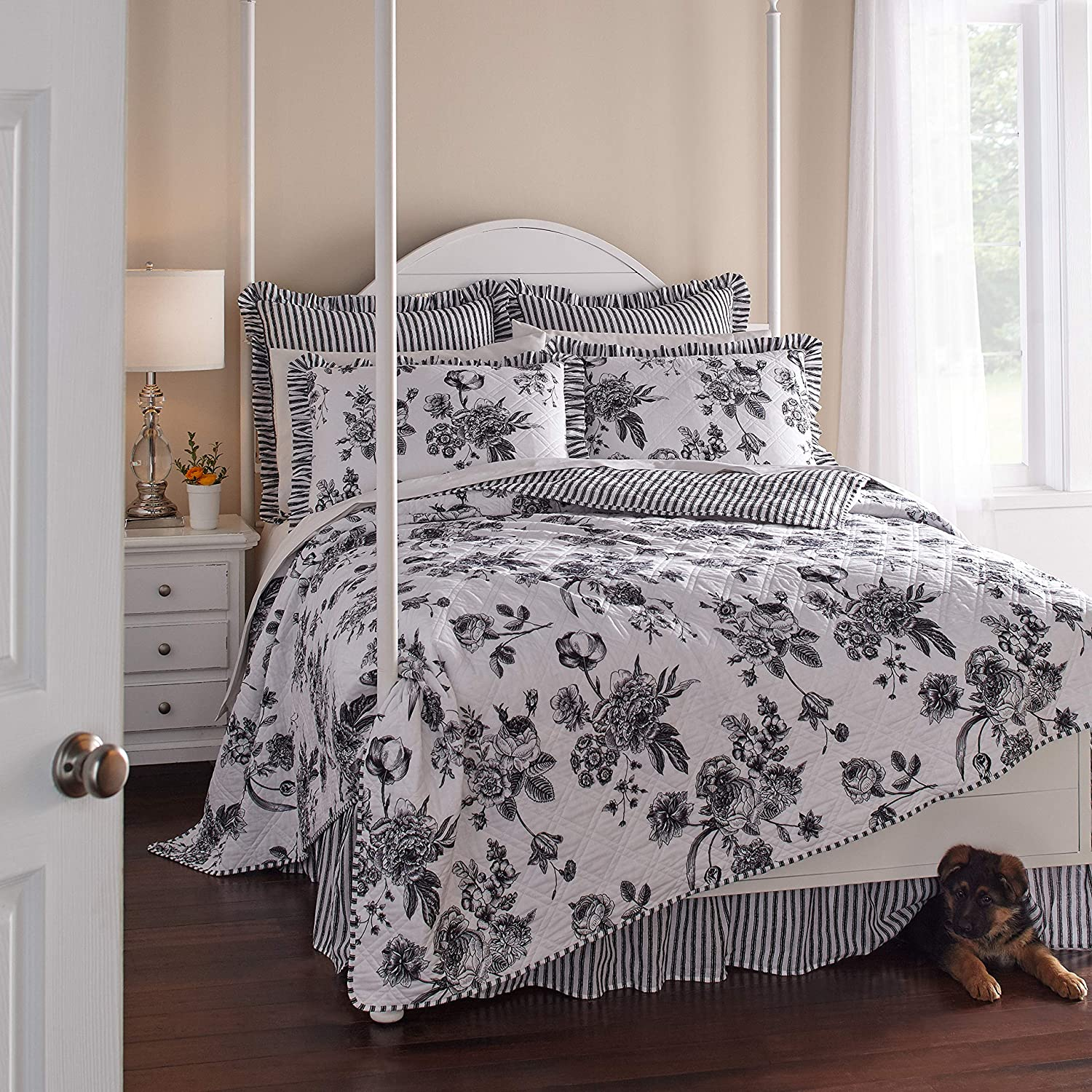 BrylaneHome Frances 6 Limited time trial price Piece Quilt White King Set Ranking TOP20 - Black