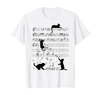 camisetas amantes de la música y los gatos