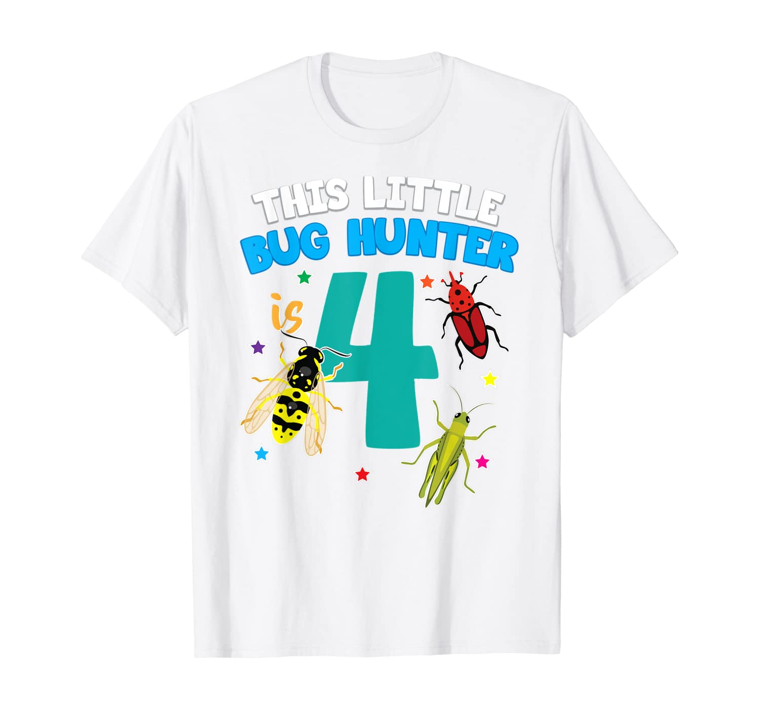 This Little Bug Hunter is 4 Insect 4th Birthday Girls Boys T-Shirt-Cotoa