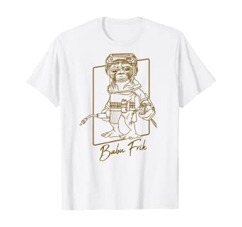 Amazon Com Star Wars The Rise Of Skywalker Babu Frik Outline T Shirt Clothing