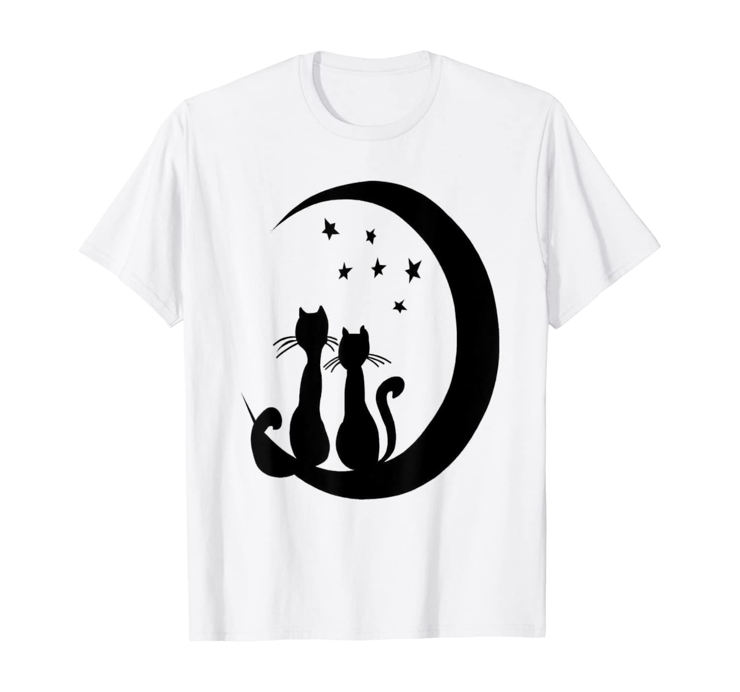 Amazon Com Cute Black Cats Under The Moonlight Funny Kittens Cat Lovers T Shirt Clothing