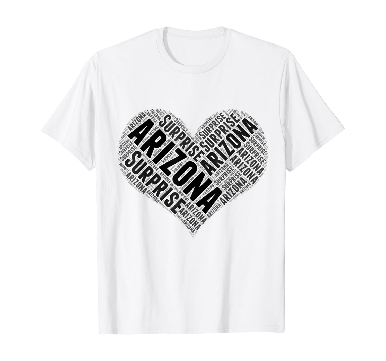 State Heart ARIZONA Tshirt SURPRISE Tshirt Home Tee